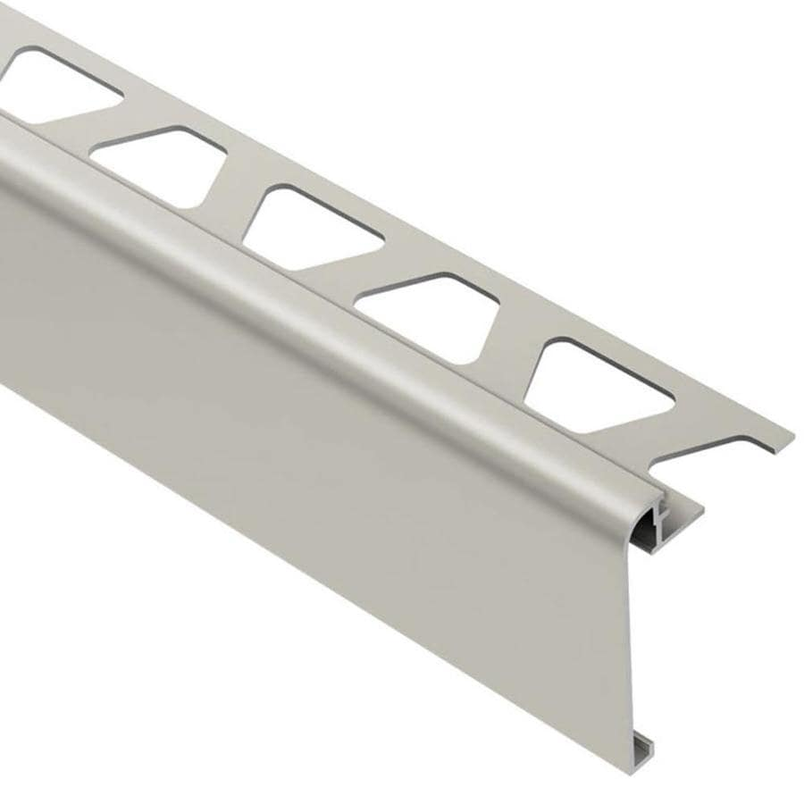 schluter systems rondec step 0 375 in w x 98 5 in l satin nickel anodized aluminum step tile edge trim