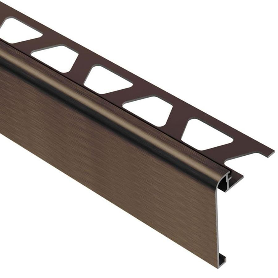 schluter systems rondec step 0 313 in w x 98 5 in l brushed antique bronze aluminum step tile edge trim
