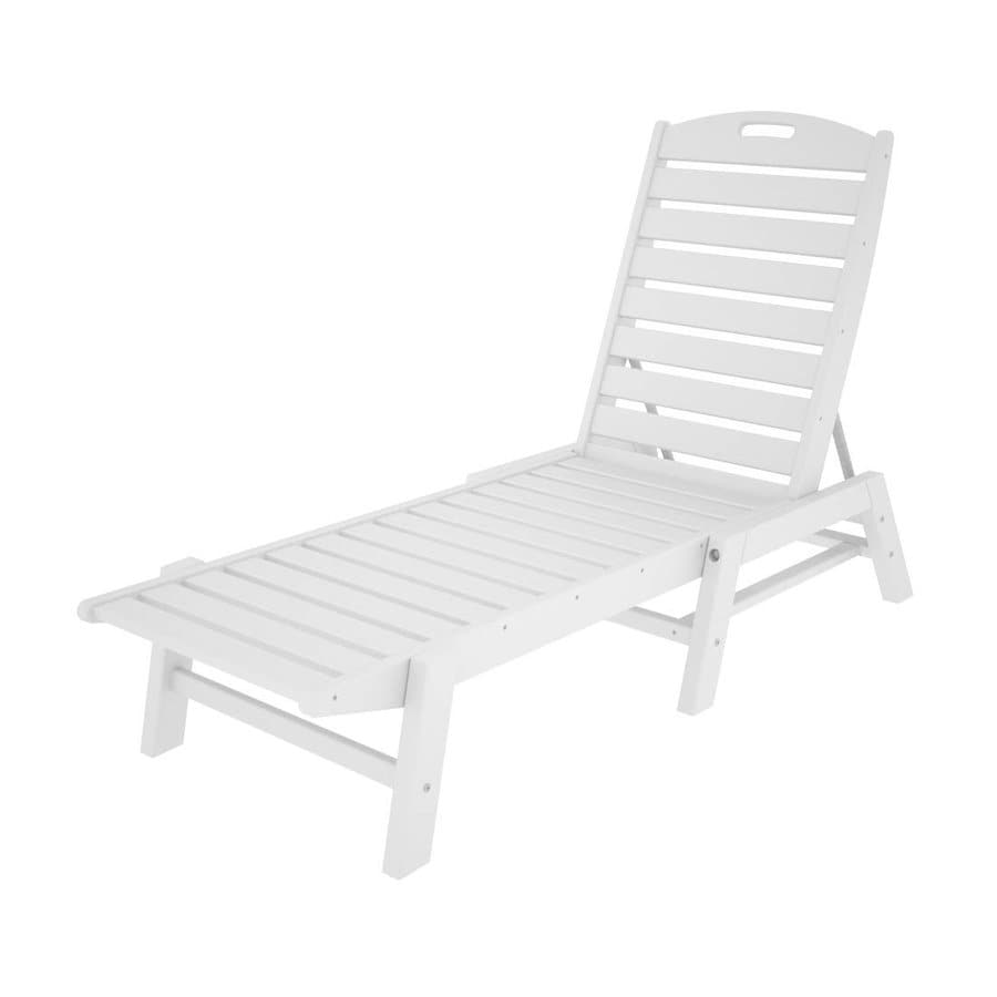 white plastic lounge chairs eames chair dimensions polywood nautical stackable patio chaise