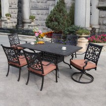 Darlee 7-piece Cushioned Cast Aluminum Patio Dining Set