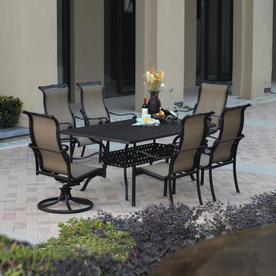 antique lawn chairs best office chair for sciatica darlee monterey bay 7-piece bronze aluminum patio dining set at lowes.com