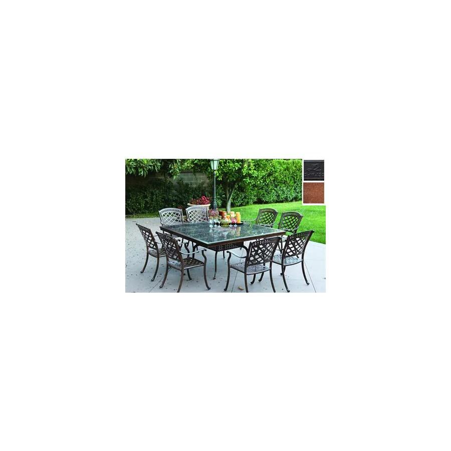 darlee 9 piece sedona cushioned cast aluminum patio dining set