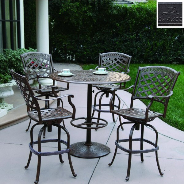 Darlee 5-piece Sedona Cast Aluminum Patio Bar-height Set