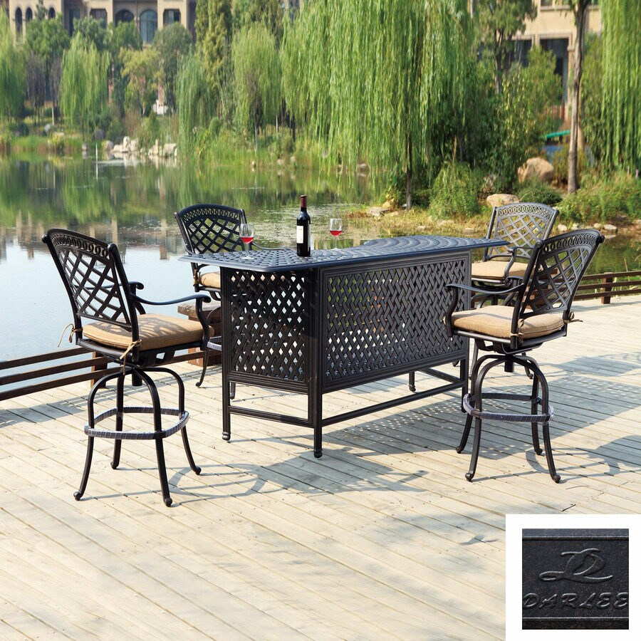https www lowes com pd darlee 5 piece sedona cushioned cast aluminum patio bar height set 4227531