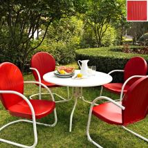 Crosley Furniture Griffith 5-piece Red Steel Patio