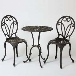 Patio Bistro Table And Chairs Ergonomic Gaming Chair With Footrest Best Selling Home Decor Thomas 3 Piece Black Metal Frame Dining Set