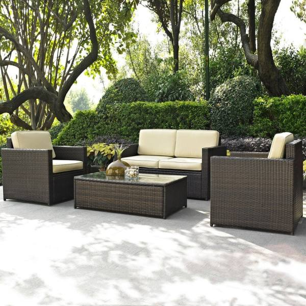 outdoor conversation sets patio furniture Shop Crosley Furniture Palm Harbor 4-Piece Wicker Patio Conversation Set at Lowes.com