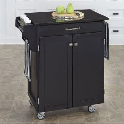 Home Styles Kitchen Cart Carbon Steel Knives Black Scandinavian Carts At Lowes Com