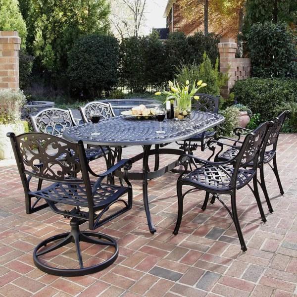 patio furniture sets Shop Home Styles Biscayne 7-Piece Black Aluminum Patio