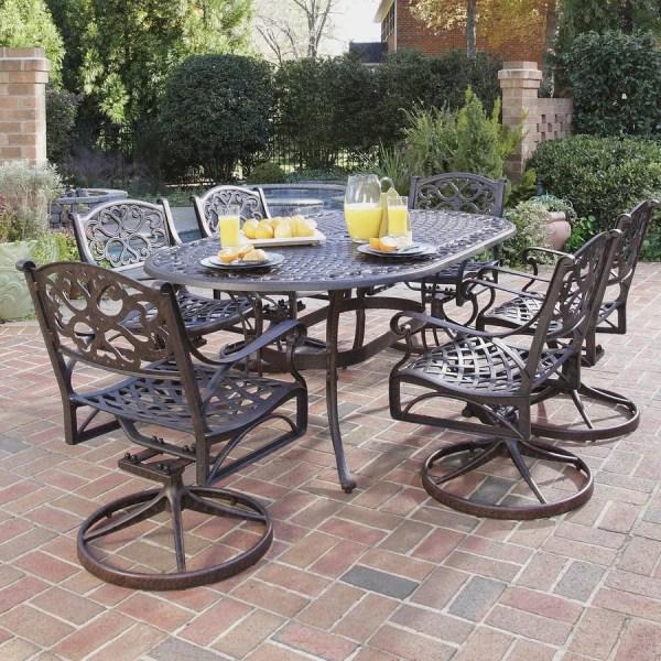 patio furniture sets Shop Home Styles Biscayne 7-Piece Rust Bronze Aluminum