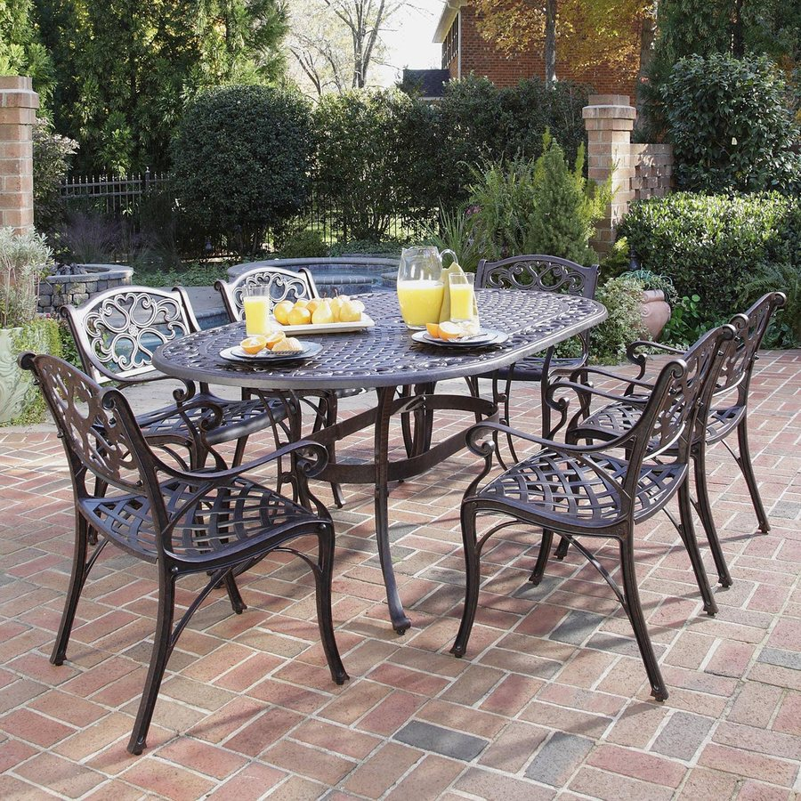 Lowes Outdoor Table And Chairs Home Styles Biscayne 7 Piece Bronze Metal Frame Patio Dining Set