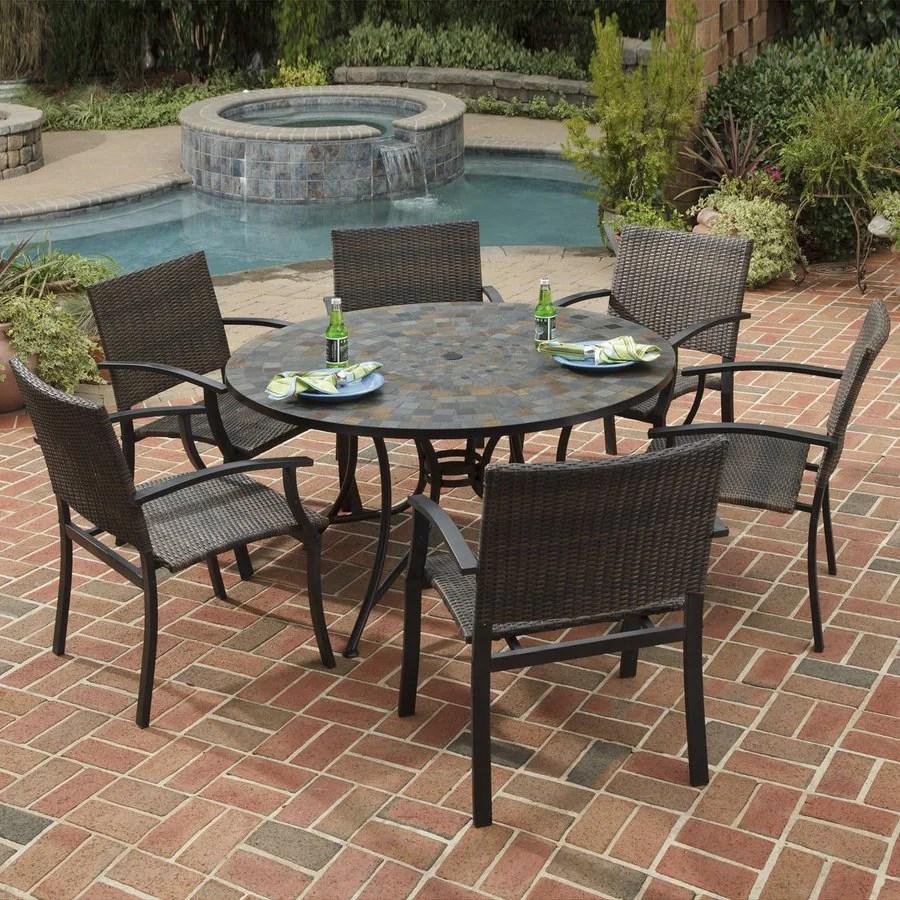 home styles stone harbor 7 piece metal frame wicker patio dining set
