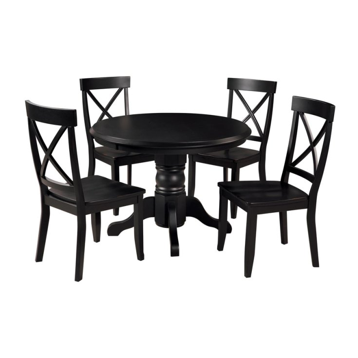shop home styles black 5-piece dining set with round dining table at