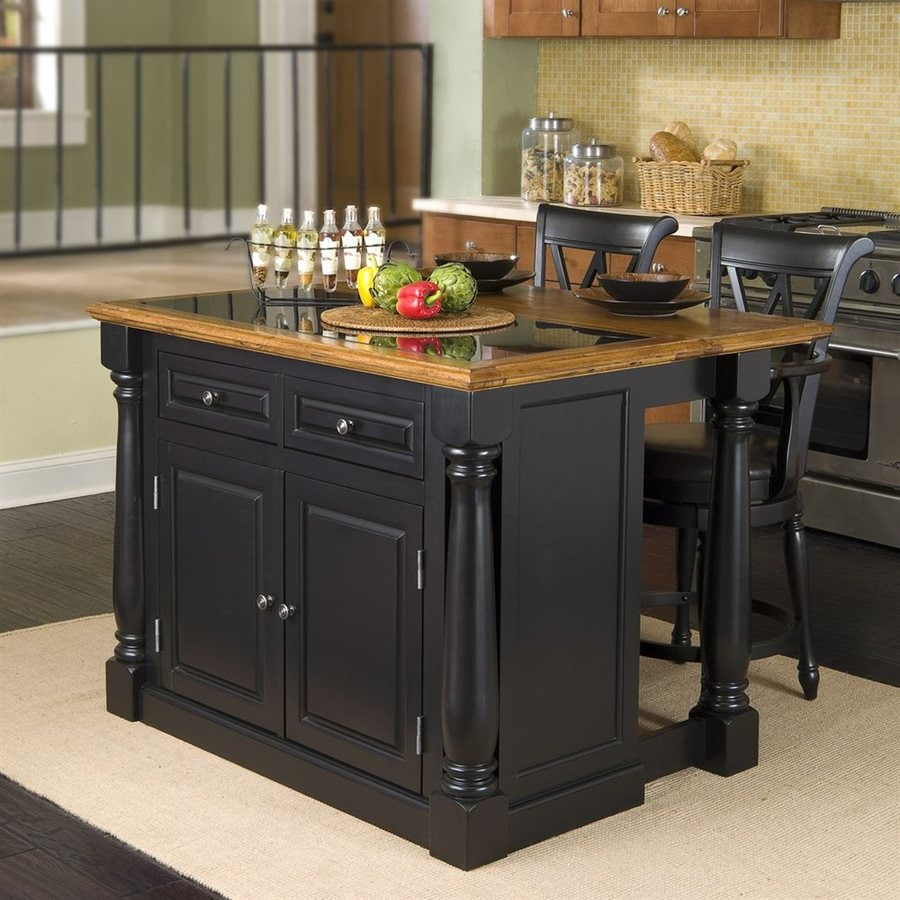 kitchen island lighting lowes maple table shop home styles black midcentury islands 2-stools ...