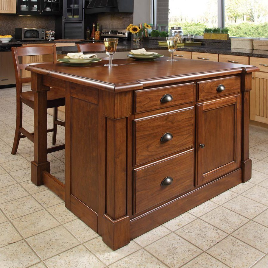 Home Styles Brown Midcentury Kitchen Islands 2stools At