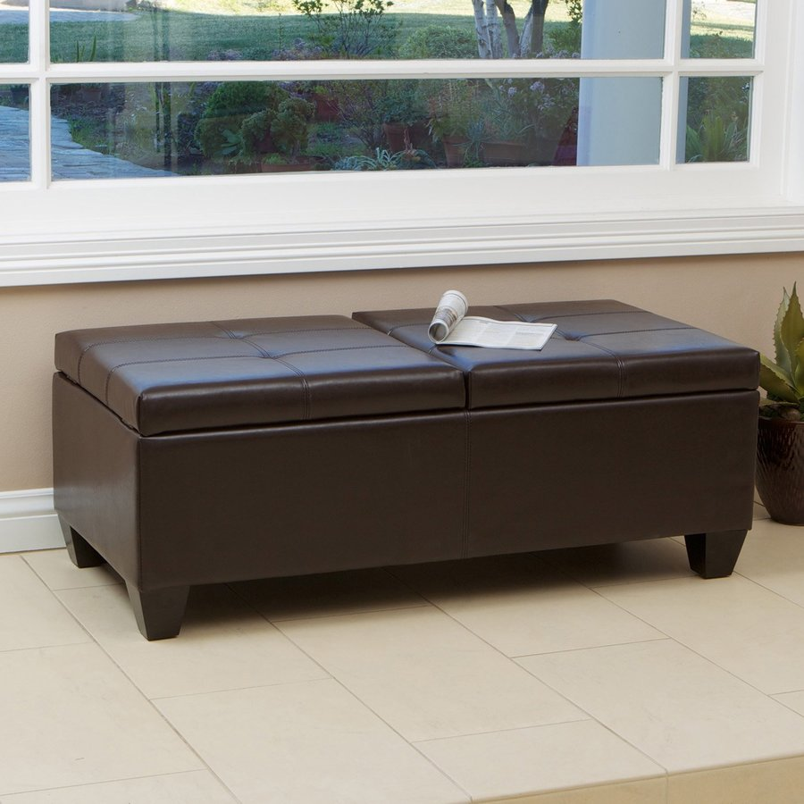 best selling home decor alfred casual brown faux leather storage ottoman in the indoor ottomans department at lowes com