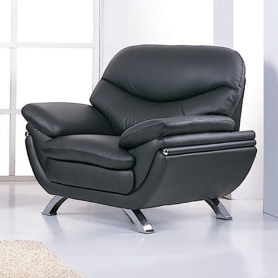 Black Accent Chairs Bh Design Jonus Modern Black Leather Accent Chair At Lowes