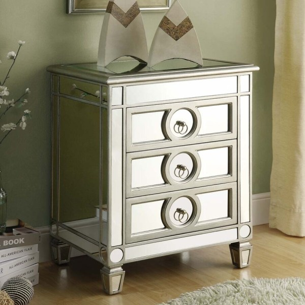 Monarch Specialties Silver Mirror Nightstand