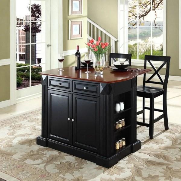 Crosley Furniture Black Craftsman Kitchen Island With 2-stools