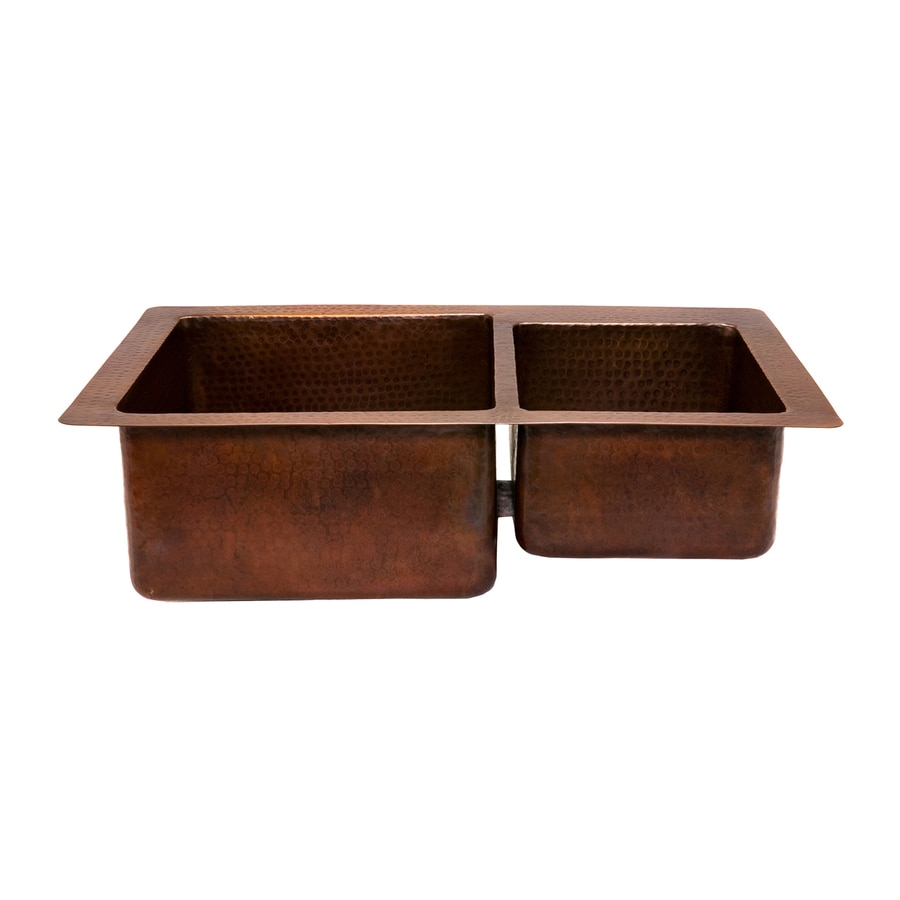 oil rubbed bronze kitchen sink gift baskets premier copper products 33 in x 22 double basin drop or undermount residential