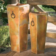 Potter 13-in X 35-in Rustic Copper Metal Planter