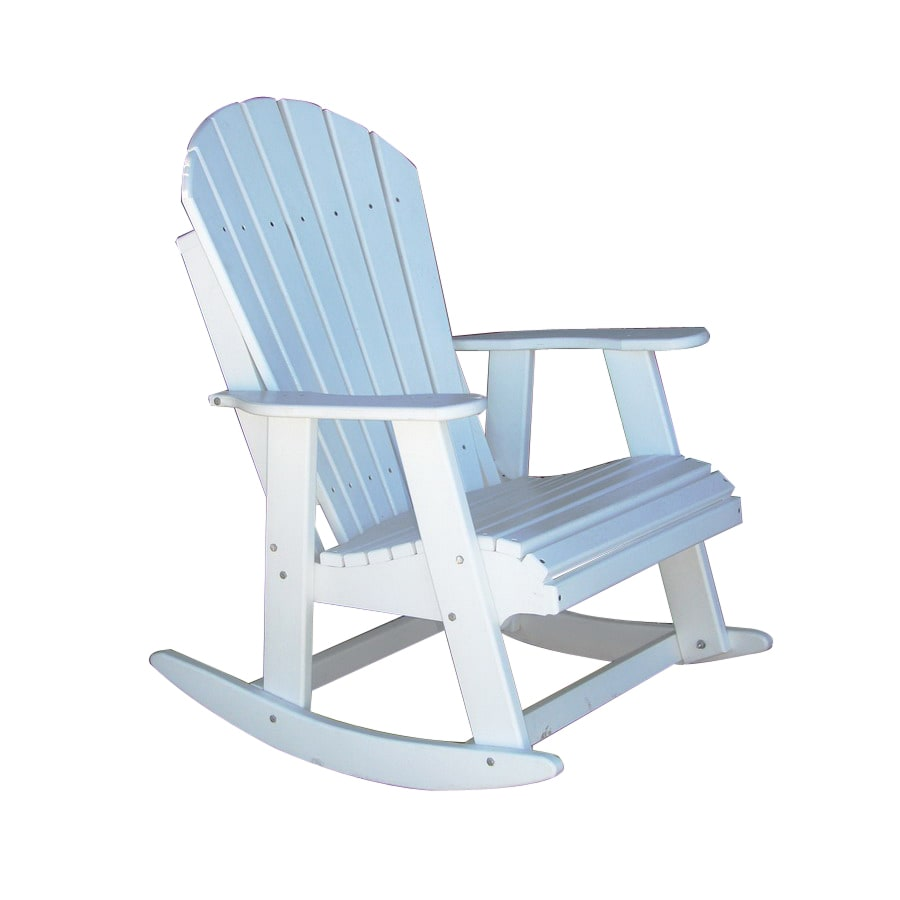 Phat Tommy Alpine White Wood Slat Seat Outdoor Rocking