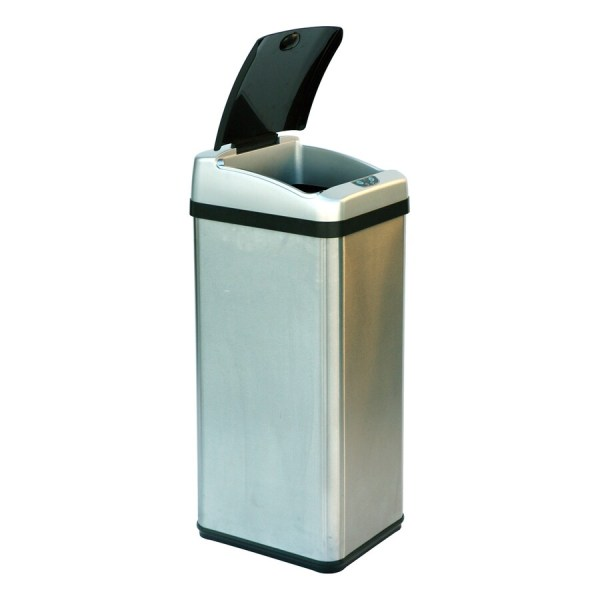 Itouchless 13-gallon Brushed Silver Metal Touchless Trash With Lid