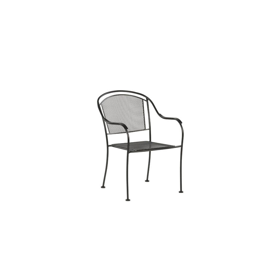 patio chairs at lowes office chair accessories australia garden treasures davenport black mesh seat wrought iron stackable dining