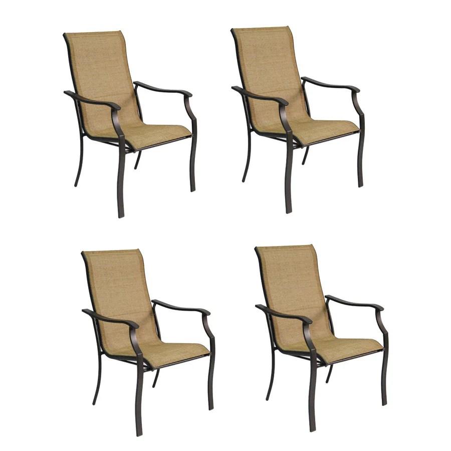 s pd garden treasures set of eastmoreland textured brown sling steel stackable patio dining chair