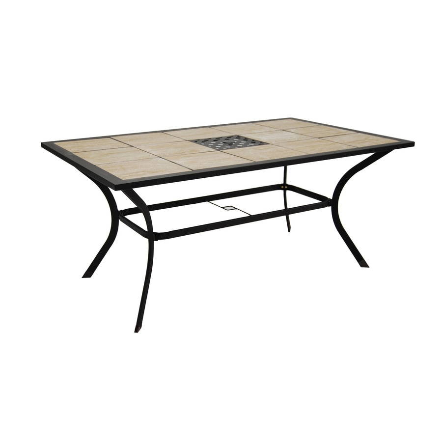 garden treasures eastmoreland tile top brown rectangle patio dining table lowes com