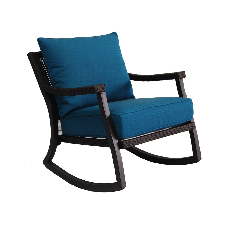 Lowes Outdoor Rocking Chair Allen Roth Netley Brown Wicker Rocking Patio Conversation Chair