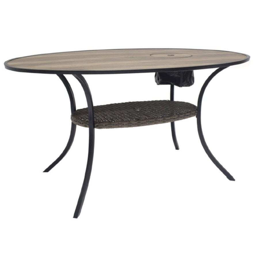 allen roth copper pointe oval wicker outdoor dining table 70 67 in w x 44 84 in l with umbrella hole