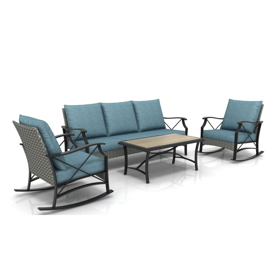 style selections wallingford 4 piece metal frame patio conversation set with cushion s included