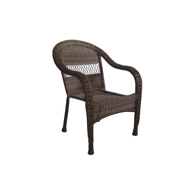 garden treasures severson brown wicker stackable patio dining chair
