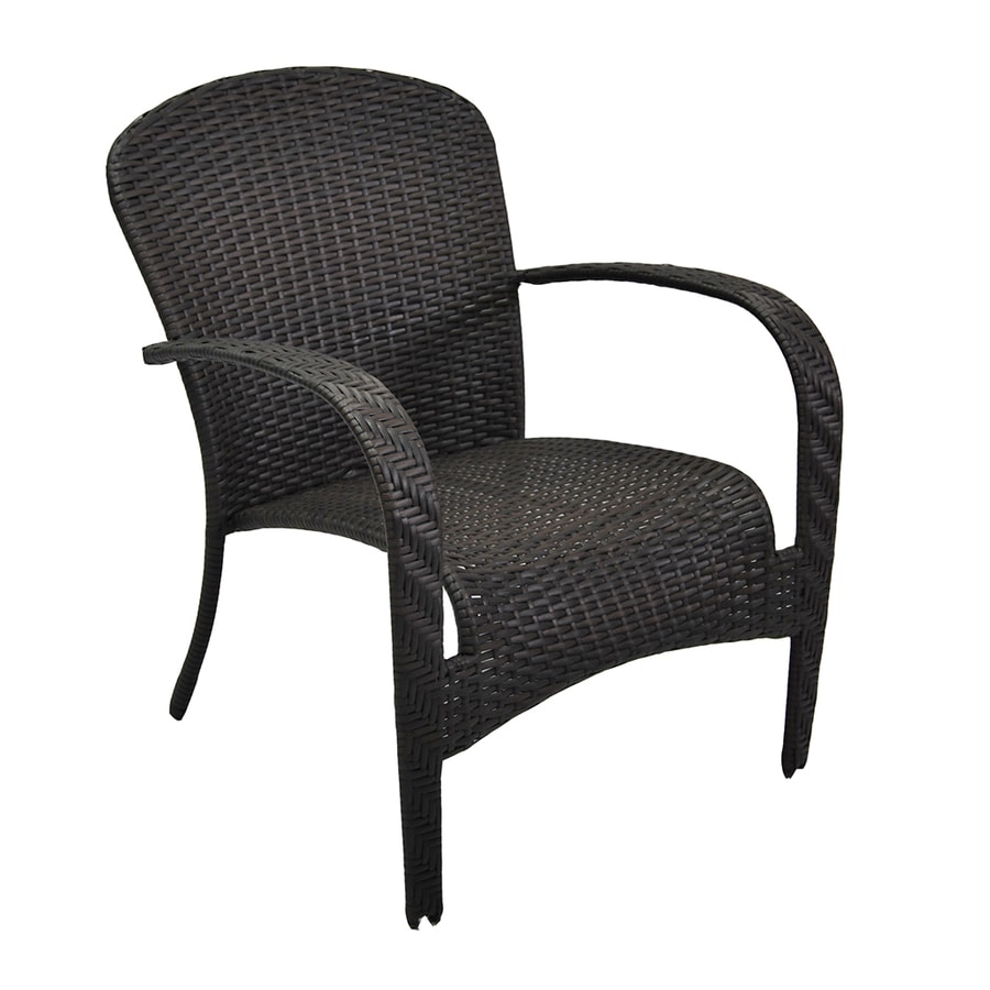 style selections trevose woven stackable black metal frame stationary conversation chair s with woven seat