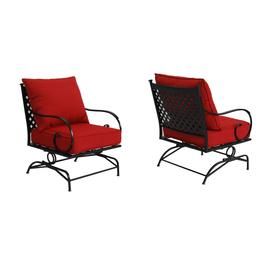 hard plastic outdoor rocking chairs medical toilet chair image patio at lowes com garden treasures yorkford set of 2 steel conversation with red slat