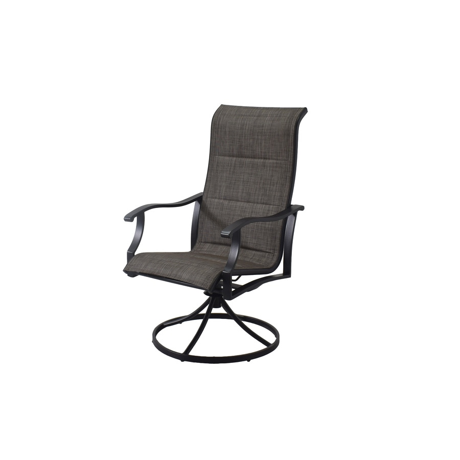 style selections skytop set of 2 black metal frame swivel dining chair s with gray sling seat