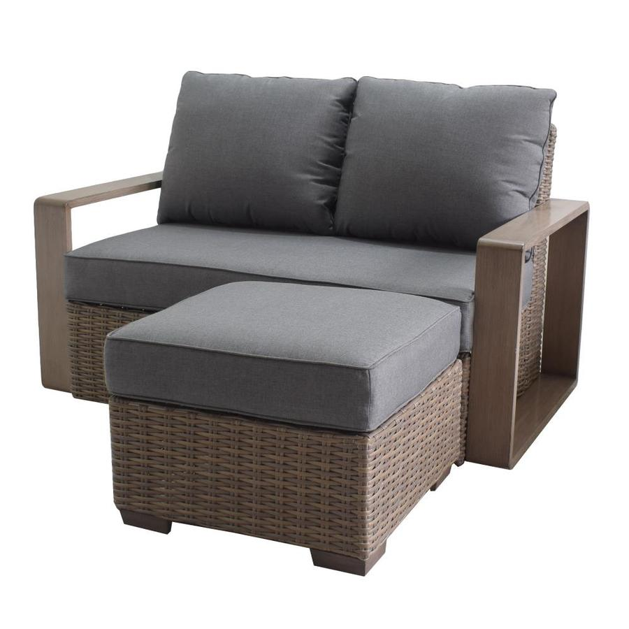 allen roth wilmington woven outdoor loveseat with cushion s and gray steel frame lowes com