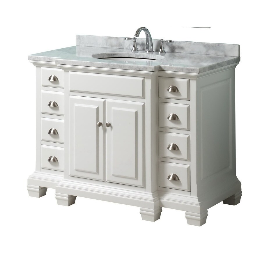 allen roth vanover 45 in white single sink bathroom vanity with white natural marble top