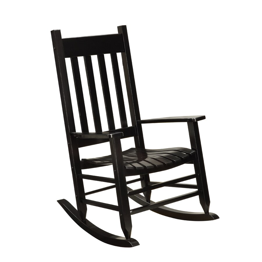 Lowes Outdoor Rocking Chair Garden Treasures Black Wood Slat Seat Outdoor Rocking Chair At