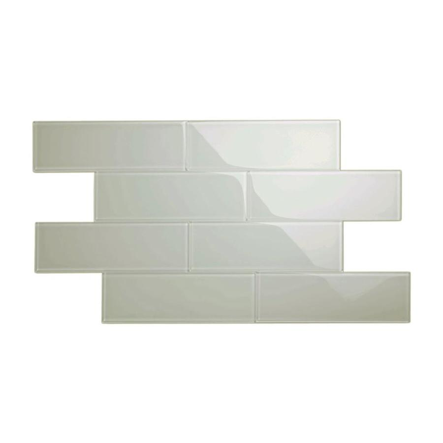 giorbello 4x12 glass subway tiles 15 pack light gray 4 in x 12 in glossy glass subway wall tile