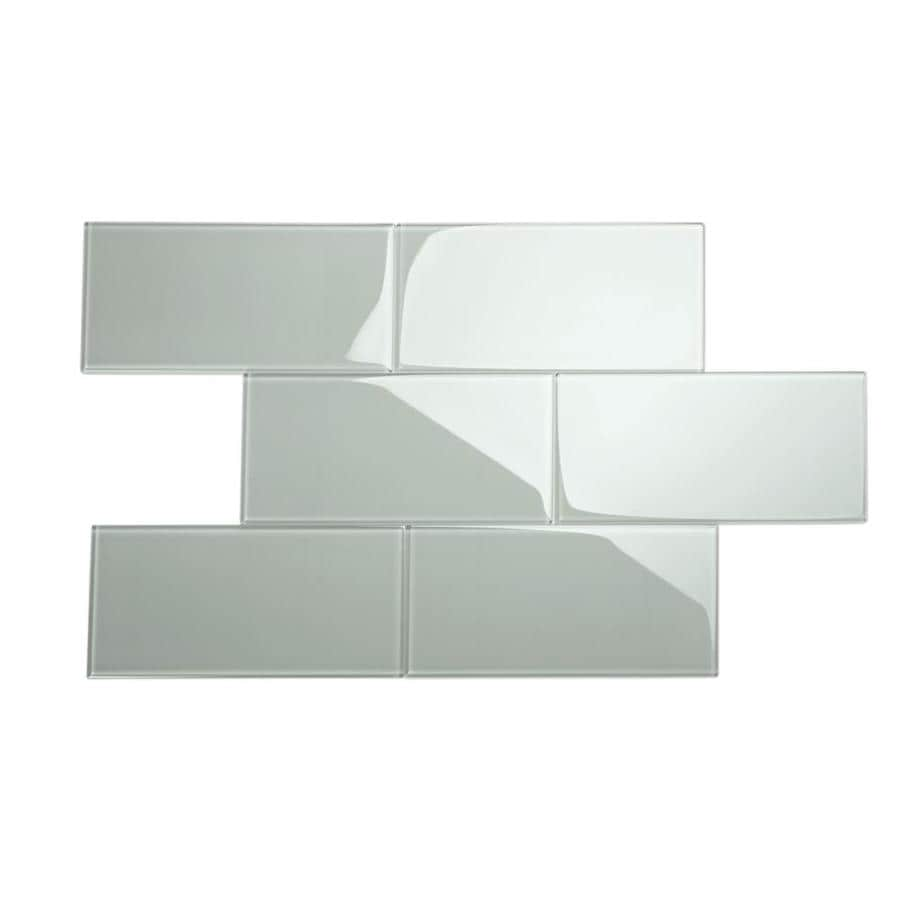 giorbello 6x12 glass subway tiles 10 pack true gray 6 in x 12 in glossy glass subway wall tile