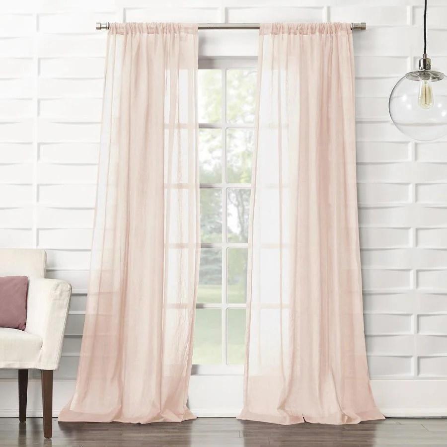 no 918 95 in blush polyester semi sheer rod pocket single curtain panel