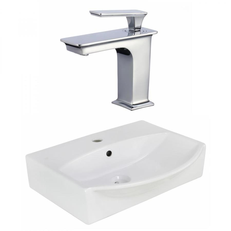 american imaginations white ceramic wall mount rectangular bathroom sink with faucet and overflow drain 16 in x 19 5 in in the bathroom sinks department at lowes com