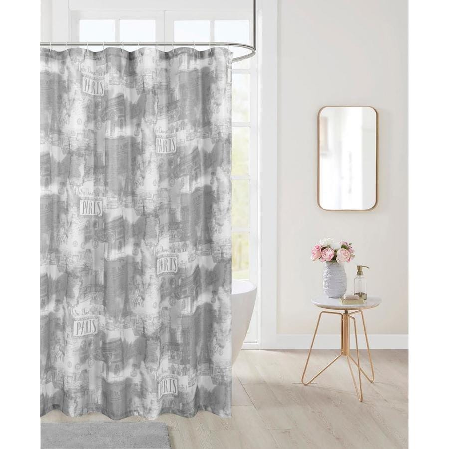 dainty home 72 in x 70 in polyester charcoal patterneded shower curtain