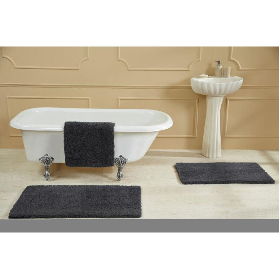 better trends better trends micro plush collection pile 100 micro polyester tufted bath mat rug 21 in x 34 in charcoal in the bathroom rugs mats department at lowes com