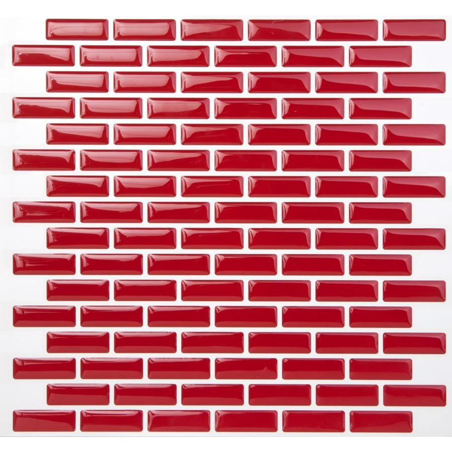 tic tac tiles brick 10 pack red white 10 in x 10 in glossy pvc brick brick look peel and stick wall tile