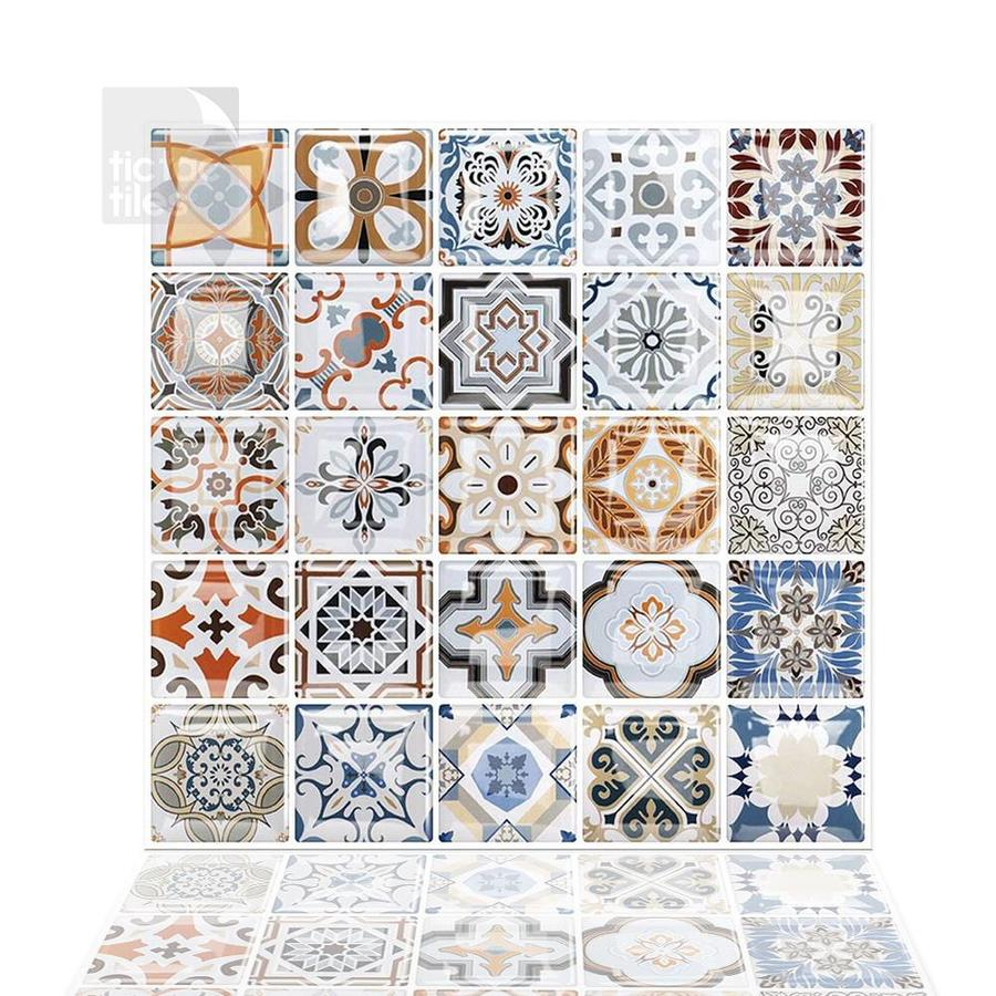 tic tac tiles square 6 pack blue orange yellow white 10 in x 10 in glossy pvc uniform squares patterned peel and stick wall tile