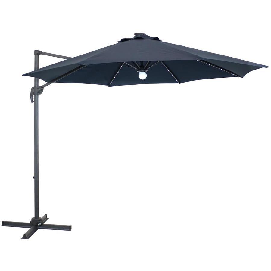 sunnydaze decor 9 8 ft octagon navy blue with gray aluminum frame solar powered offset patio umbrella