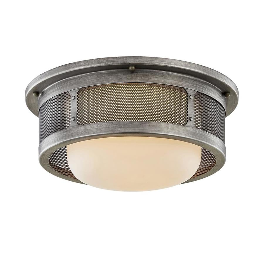 troy lighting bauer 16 5 in antique pewter industrial incandescent flush mount light